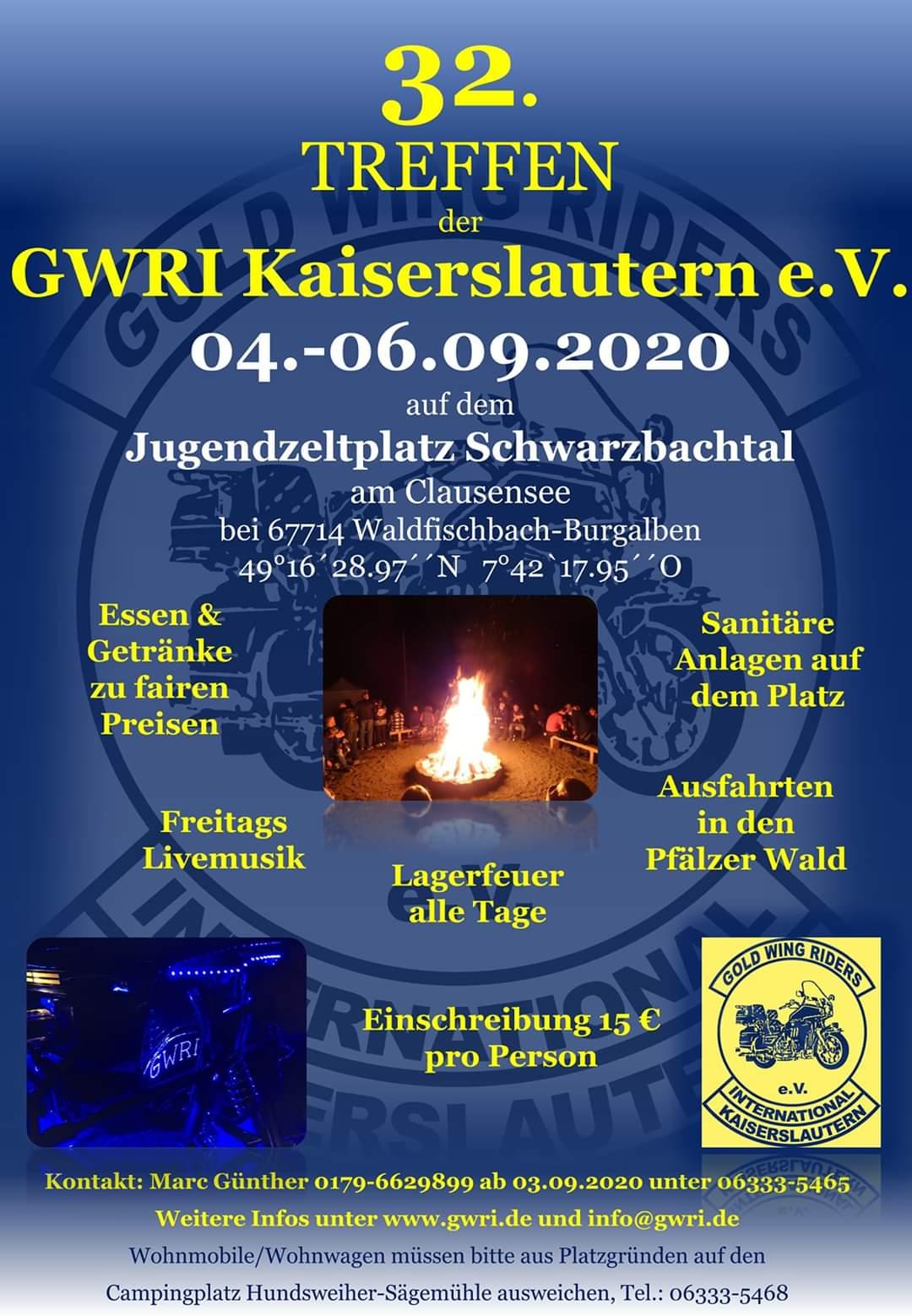 Einladung Goldwingtreffen Waldfischbach der Goldwing Riders Kaiserlautern